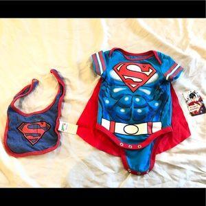 Superman Onesie Bodysuit Baby Kid 0-3 months + Bib